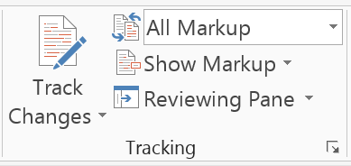 A set of buttons (Tracking menu) in Word to show the button to turn Track Changes on and off