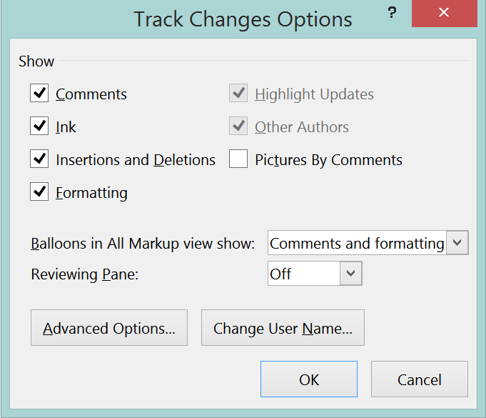 Image showing Figure 3, Track Changes Options dialogue box